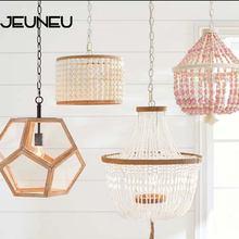 Современная Минималистичная круглая Подвесная лампа с деревянными