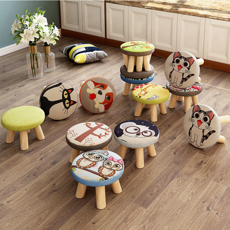 4-leg Solid Wood Round Kids Stool Cute Cartoon Removable Seat Cover Wooden Stool Chair For Children Foot Stool Kids Furniture