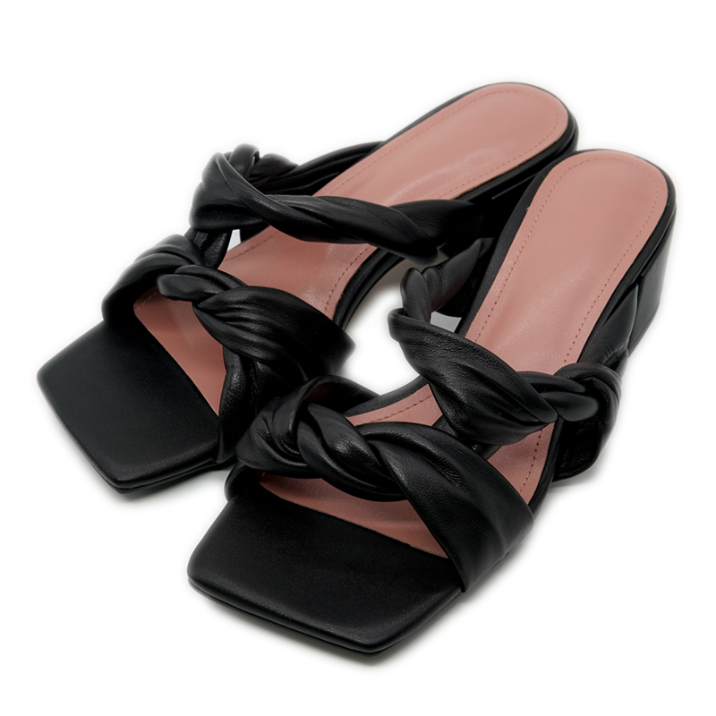 Elegant Basic Ladies Slippers Genuine Leather Women Shoes 2020 Summer 4.5cm Thick Heels Pumps Working Casual Shoes Woman