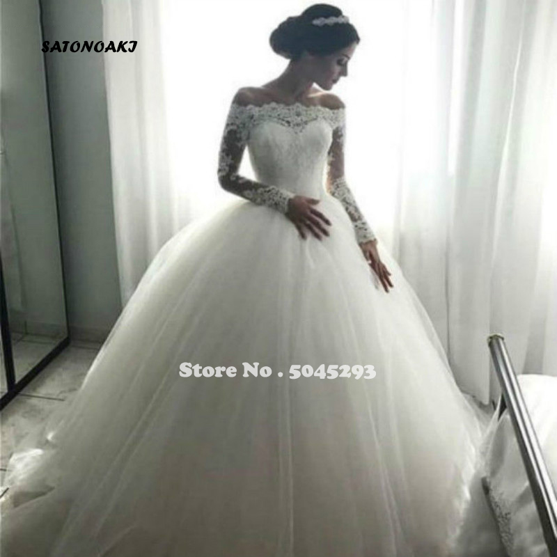 SATONOAKI Lace Wedding Dress Vestidos De Noiva Wedding Gown For Bride Custom Made Sexy Backless Sashes Wedding Dress 2020