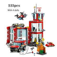 New City Series Toys Bricks Fire Station Compatible with Lepining City Building Blocks Figure for Children Christmas Gift T009 large size 90pcs fire station fire engine model building blocks bricks fireman figure kids educational toys compatible duploe