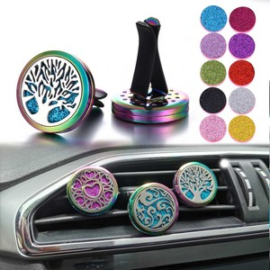 New Aromatherapy Jewelry Car Perfume Diffuser 316L Stainless Steel Aroma Essential Oil Diffuser Car Clip Lockets DropShipping(China)