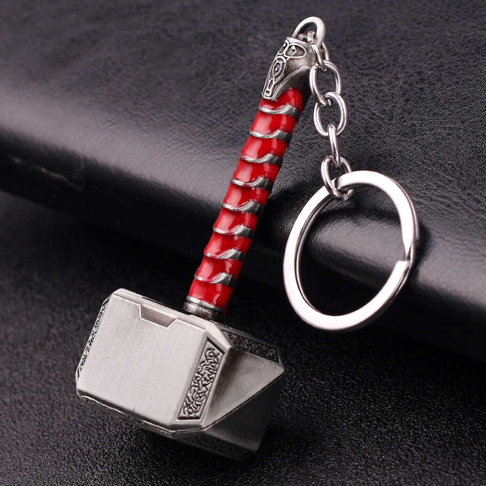 Thor פטיש מתכת Keychain מארוול נוקמי סוף המשחק Superhero Thor נשק מפתח שרשרת עבור מפתחות מכונית גברים נשים תיק אבזרים