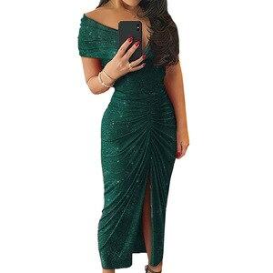 Image 4 - ルイジェイソンドレス女性パーティーナイトvestidoセクシーな肩倍分割裾ロングドレスローブフェムセクシーパーティードレスropaのmujer sukienki