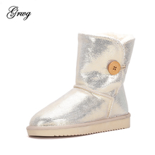 купить GRWG Wholesale/retail ! 2019 Classic waterproof genuine cowhide leather snow boots warm winter shoes for women Free shipping дешево