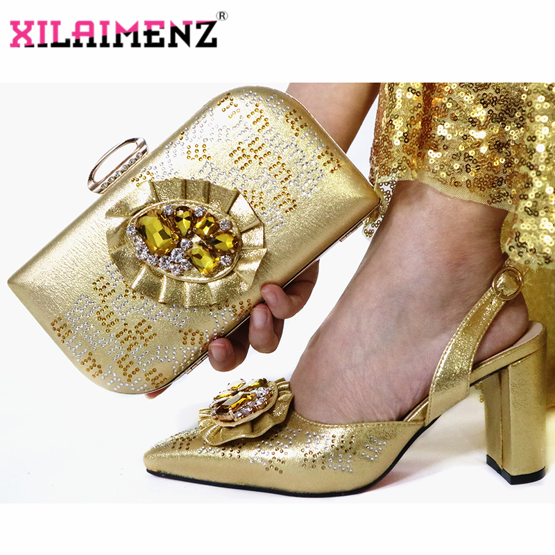 Image 4 - Mature Special Design Onion Color Shoes And Bag To Match Set  Nigerian High Heels Party Shoes And Bag Set For Wedding DressWomens  Pumps