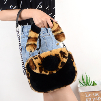 New style fashion Rex rabbit fur plush leopard print bag shoulder portable Korean ladys
