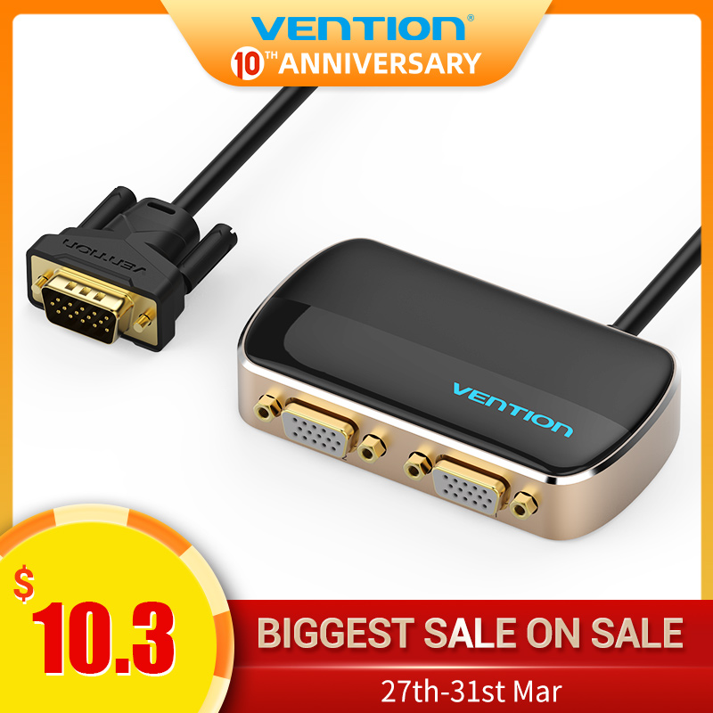 Vention VGA Splitter 1080P VGA Switch 1 In 2 Out Male To Female With Cable For Desktop Laptop Monitor Projector TV VGA Adapter