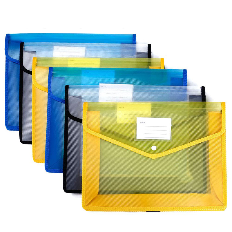 [6 Pack] Pp Folders With Closure And Pockets, Expandable Envelope Wallet, 14.5 Inch X11 Inch, 2.8 Inch Expansion, File Folder Wi