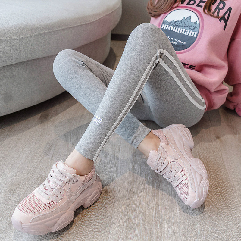 Autumn New White Side Leggings Women Wear Running Embroidery Cotton Two Bars Large Size Stripes Nine Points Sweatpants