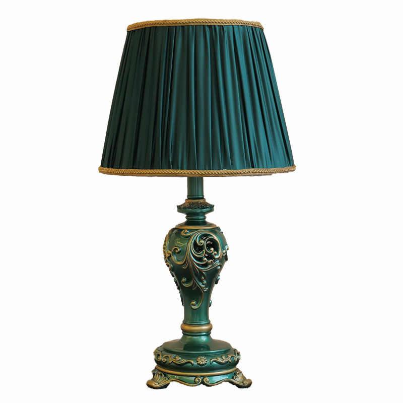 Lámpara de mesa estilo europeo, clásico, ligera, de lujo, de resina, para estudio, Retro, para sala de estar, cabecera, lámpara de mesa americana