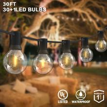 G40 girlanda żarówkowa Led światła 30Ft 31 sztuk Vintage LED żarówka 1W 2700K IP45 wodoodporna kryty światło zewnętrzne ciąg na podwórku oświetlenie Patio tanie tanio CN (pochodzenie) ROHS CHRISTMAS Z tworzywa sztucznego Żarówki led Brak 220 v 1000cm 11-15 m Black 20-50 głowy LED String lights