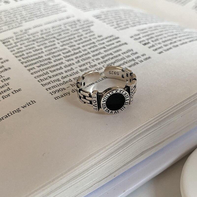 ANENJERY rétro 925 argent Sterling noir goutte glaçure rond carré ouvert anneaux pour femmes hommes chiffre romain anneaux cadeaux S-R957 3