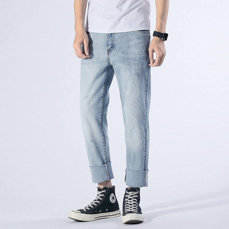 Summer Big Brand Washing Light Color MEN'S Denim Trousers Paragraph Four Seasons Straight-Cut Jeans Korean-style Fashion Loose-F