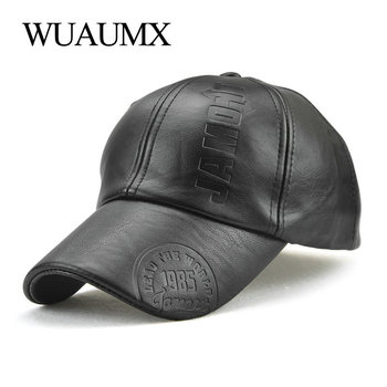 Wuaumx High Quality PU Baseball cap For Men Solid Faux Leather Cap Autumn Winter Men's Hat Trucker Street Wear - discount item  45% OFF Hats & Caps