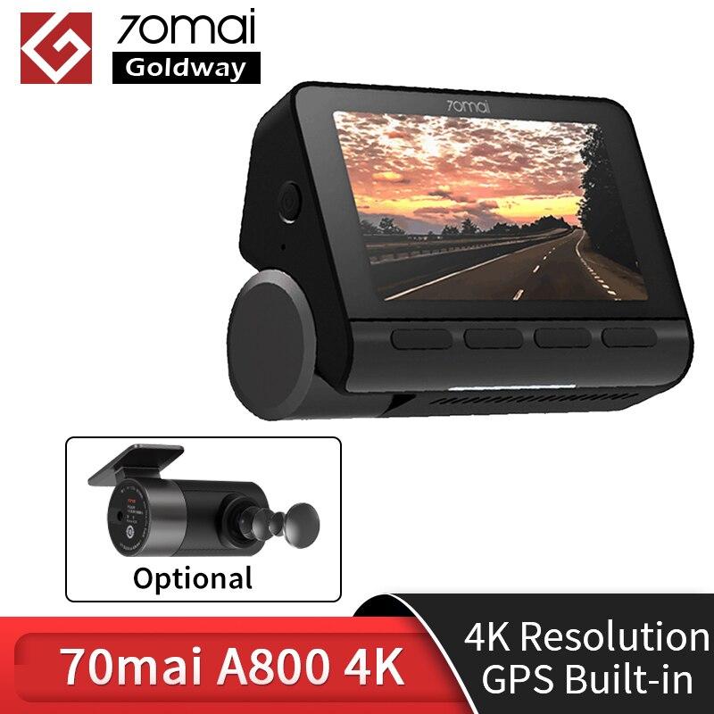 Em estoque 70mai traço cam a800 dupla visão 4 k 140 fov super visão noturna gps adas 24h monitor de estacionamento dvr câmera 70mai 4 k a800 4 k