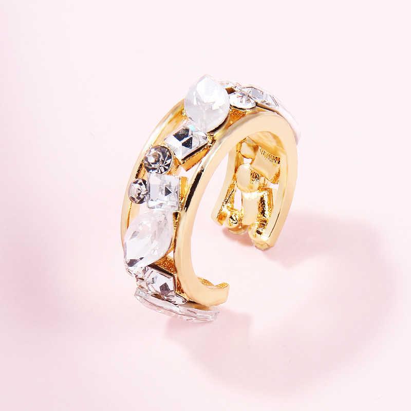 Itenice Bohemia plata oreja brazalete para mujer chica cristal apilable C Forma de diamantes de imitación pendientes oro joyas Clip