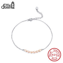 Effie Queen Real 925 Silver Adjustable Anklet with 6pcs Oval Natural Freshwater Pearls for Women Girl Patry Birthday Gift SA02