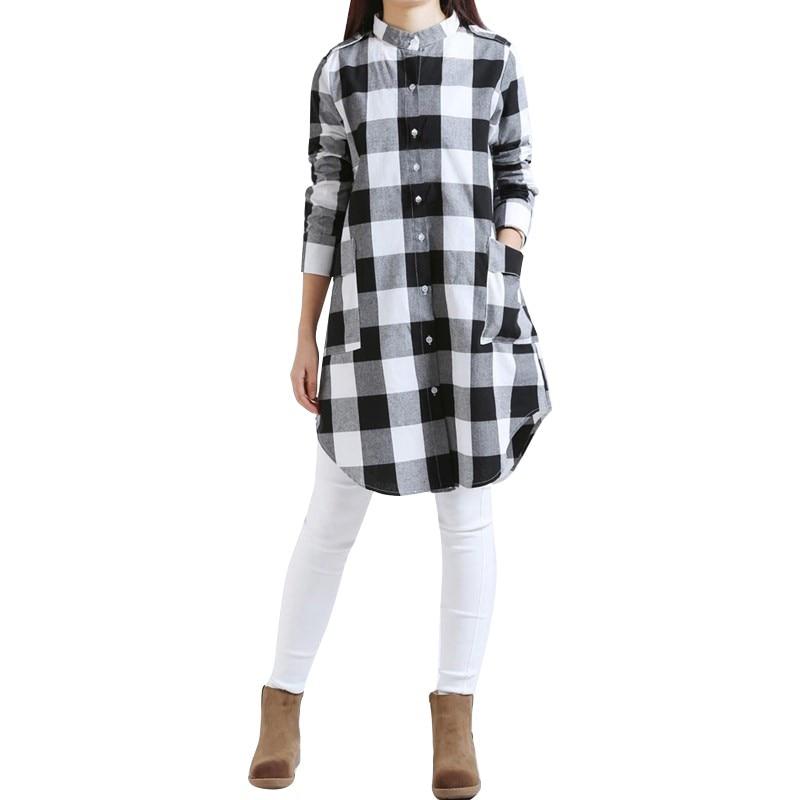 Fashion Autumn Women Plaid Shirts Blouses Long Casual Loose Vintage Tops Oversize Shirts Feme