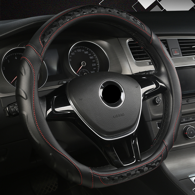New D Shape Steering Wheel Cover for VW Golf 7 Polo 2014-2019 Scirocco Jetta 6 2017-2019 Santana 2016-2018 Auto Accesorioss image