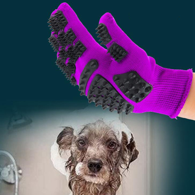 Pet Glove Cat Grooming Glove Cat Hair Deshedding Brush Gloves Dog Comb For Cats Bath Clean Massage Hair Remover brushes Gentle 5