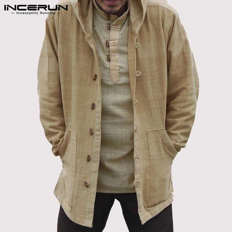 INCERUN Men's Vintage Cotton Hoodies Hooded Pockets Button Casual Outerwear Long Sleeve Men Sweatshirts 2020 Streetwear S-5XL