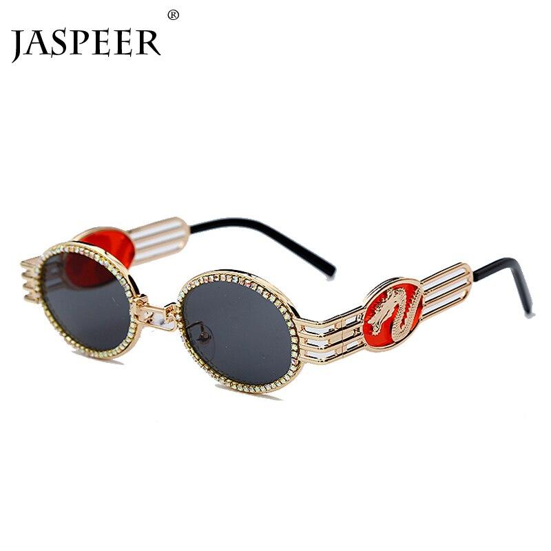 Jasper elmas güneş gözlüğü erkekler kadınlar ejderha Vintage yuvarlak güneş gözlüğü Metal çerçeve Steampunk siyah altın marka 2020 güneş gözlüğü