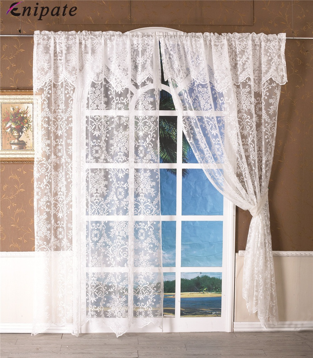 Enipate 1PC Romantic White Jacquard Short Curtain Valance Sheer Panel Tulle Curtain Home Living Room Door Balcony Window Curtain