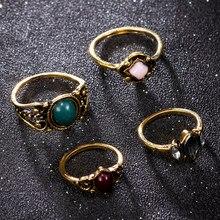 Boêmio 4 unidades/pacote anéis de cristal azul do vintage sorte empilhável midi anéis conjunto junta anel anéis para festa feminina