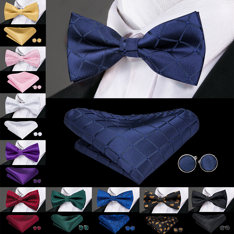Hi-Tie Brand Men's Bow Tie Fashion Blue Solid Silk Bowtie Hanky Cufflinks Set Male Wedding Bowties Noeud Papillon Homme LH-753