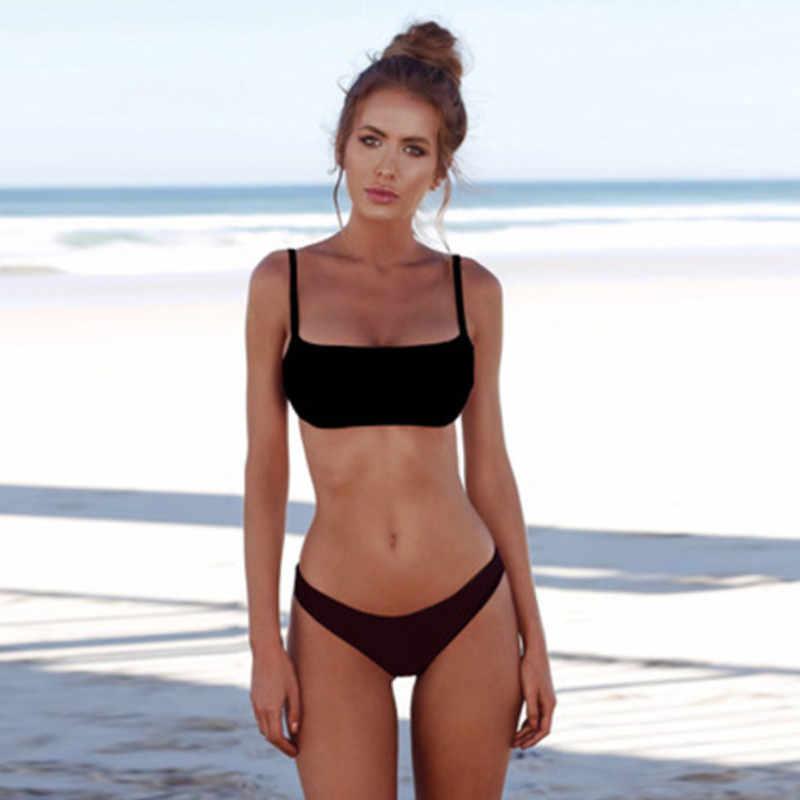 جديد الصيف المرأة الصلبة مجموعة البكيني دفع ما يصل غير مبطن البرازيلي ملابس السباحة مثلث الاستحمام دعوى لباس سباحة biquini