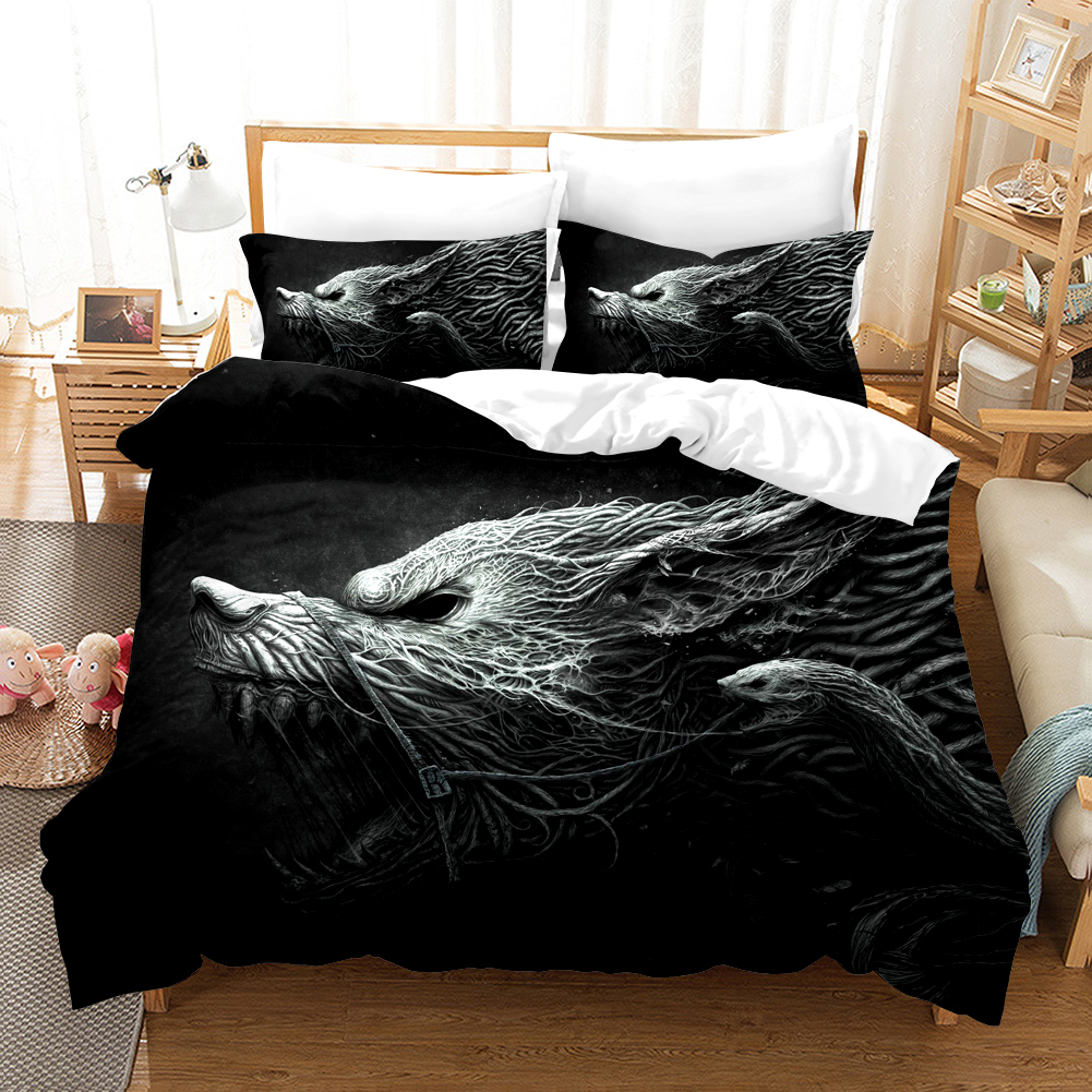 Haliaeetus Leucocephalus Bedding Set Duvet Covers Pillowcases 3D Wolf Balck Comforter Bedding Sets Bedclothes Bed Linen Bed Set