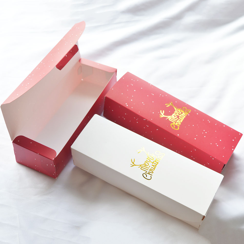 MissYe Store Merry Christmas Design Paper Gift Box Snow Red Candy Cookie Biscuit Nougat Paper Boxes New Year