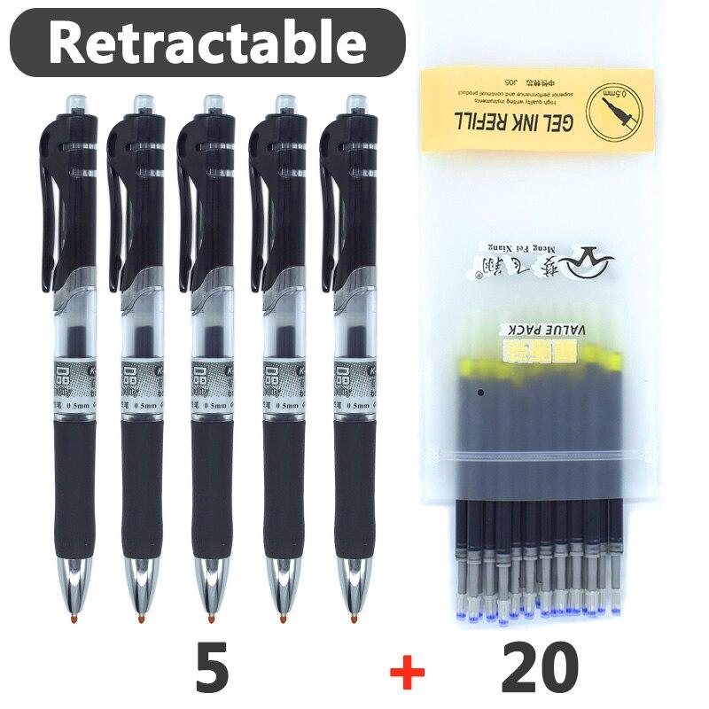 Retractable Gel Pens Black/red/blue Ink Colored Gel Pen Set 0.5 Mm Replaceable Refills Office&school Supplies Stationery