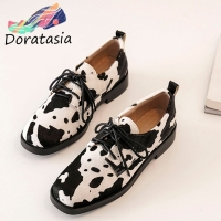 DORATASIA Fashion Office Lady Pumps Genuine Leather Lace Up Cow Pattern Low Heel Pumps Women Casual Office Classic Shoes Woman