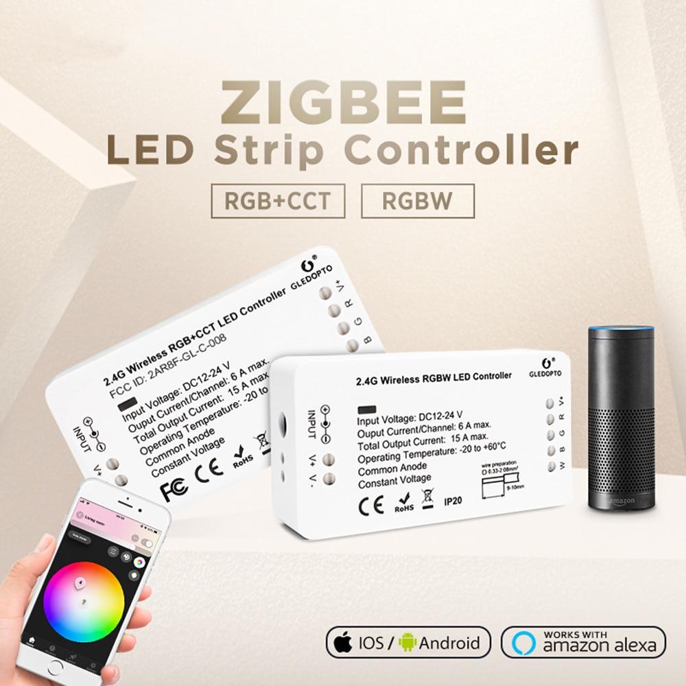 gledopto Zigbee RGBCCT RGBW LED Controller Smart 12V 24V DC Voice Control Echo Plus Smartthings 3.0 Hub Strip