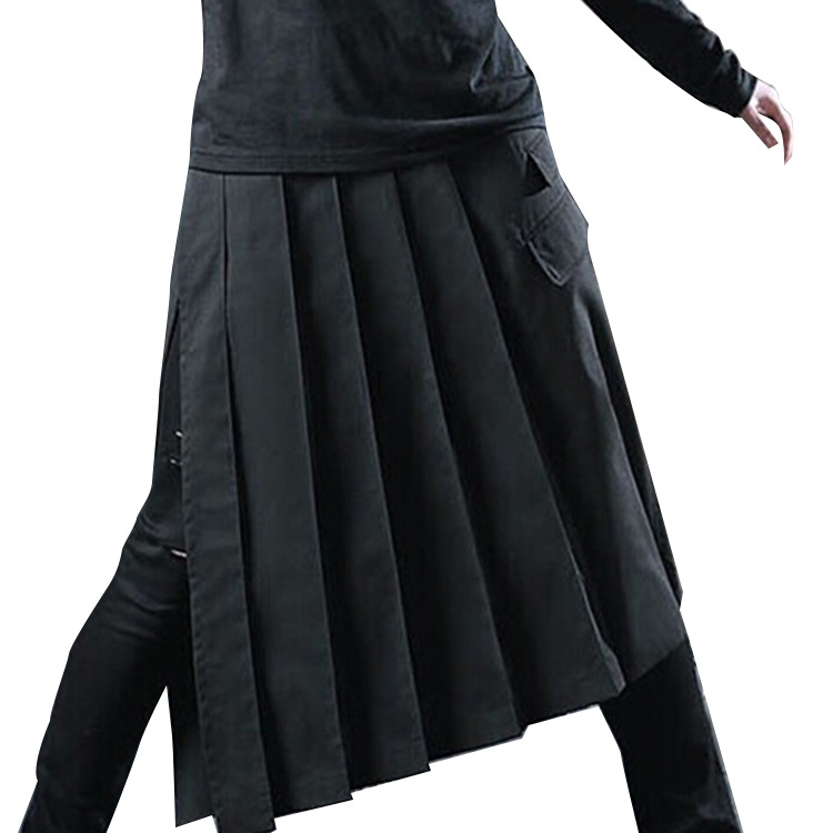 Black Gothic Skirt  Man's Casual Chic Cosutmes Show Program Dance Ins. Dark Metal Cosplay Harajuku Skirt Wrap