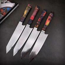 Нож шеф-повара из дамасской стали, нож японского сантоку, универсальные ножи, острый Кливер, нож для нарезки стейка, кухонный нож, стабилизированная деревянная ручка
