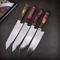 Damascus Steel Chef Knife Japanese Santoku Utility Knives Sharp Cleaver Slicing Steak kitchen knife Stabilized Wooden Handle