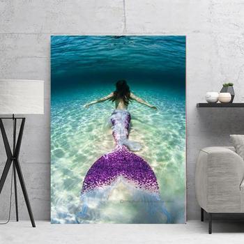 Cuadro de decoración para el hogar, póster de pared, pintura de sirena, lienzo, cuadros de pared para sala de estar, cuadro, pintura en lienzo