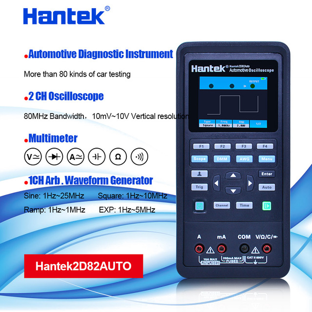 Hantek 2D82 AUTO Digital Oscilloscope มัลติมิเตอร์ 4 IN1 2 ช่อง 80MHz สัญญาณการวินิจฉัยยานยนต์ 250MSa/S