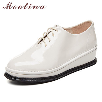 Meotina High Heels Women Pumps Natural Genuine Leather Wedge Heels Shoes Cow Patent Leather Round Toe Shoes Lady Big Size 33-42