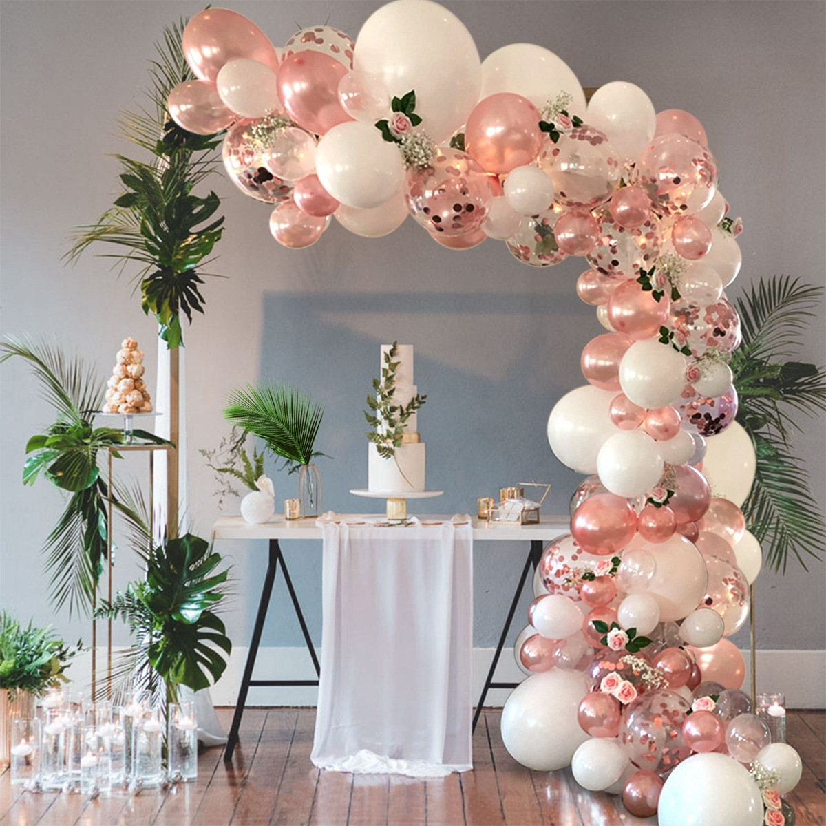 Macaron Pink Balloon Garland Arch Kit Wedding Birthday Party Decoration Kids Globos Rose Gold Confetti Latex Ballon Baby Shower 3