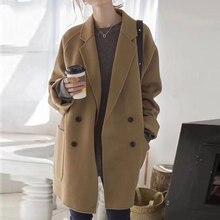 2019 Autumn New Minimalist Korean Loose Double-breasted Cocoon Woolen Women Coat