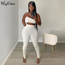 Hugcitar 2020 sleeveless one-shoulder crop tops leggings 2 pieces set