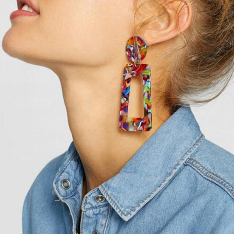 2019 Fashion Tortoise Color Clip On Earrings Leopard Acrylic Long Geometric Square Circle Without Piercing Ear Clips For Women