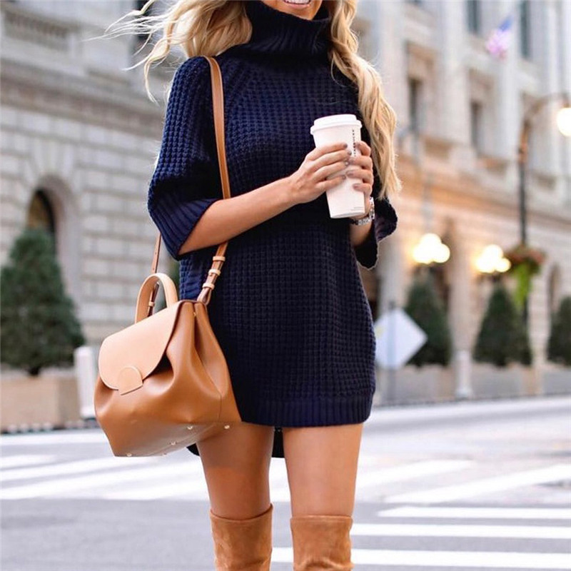 Fashion Women Casual Irregular Sweater Dress Solid Long Sleeve Half Sleeve Knitted Sweater Top Pullover Feminino 50Au2918
