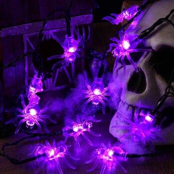 Хэллоуин ужас паук Стиль свет 10/20/40 светодиодный Батарея приведенный в действие светодиодный паутина с паучком светильники для Хэллоуина в...