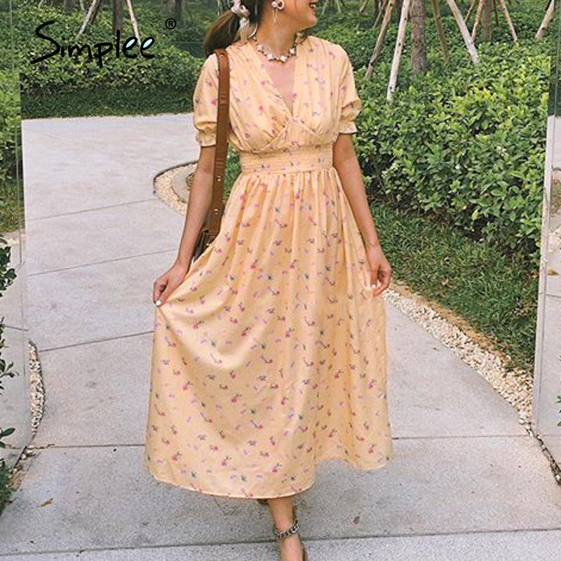 Simplee Sexy V-neck Bohemian Women Dress Elegant Floral Print Hollow Back Feamle Long Sundress Holiday Beach Ladies Maxi Dresses