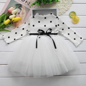 Winter Cotton Baby Girls Dot Dress Long Sleeves Toddler Kids Dress For Baby Girl Birthday Party Clothes White Christening Dress(China)